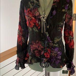 NWT Lauren Ralph Lauren SILK blouse petite size 6